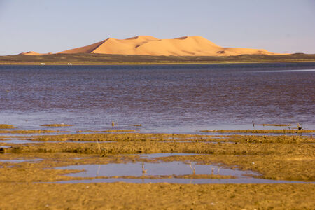 chebbi: Dayet Srji salt lake with the dunes of Erg Chebbi in the background. Stock Photo
