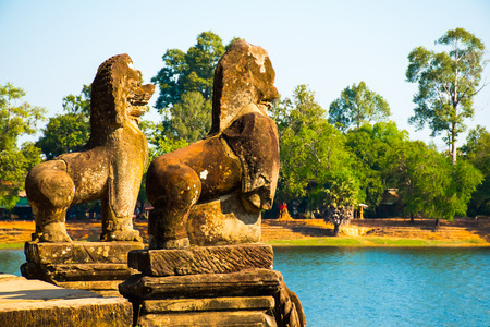 Srah Srang with Lion and Naga statues in Angkor Wat Tenple in Cambodia
