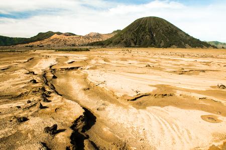 Desert under Mount Bromo in East Java in Indonesia