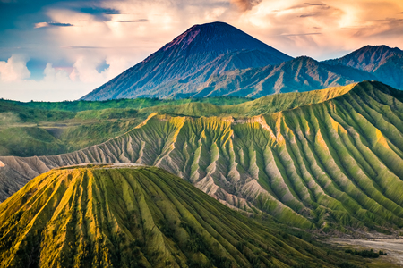 Detailed beatiful sunrise viewpoint Mount Bromo in East Java in Indonesia Stock Photo