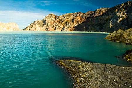 Beatiful blue lake of Kawah Ijen volcano crater in Indonesia