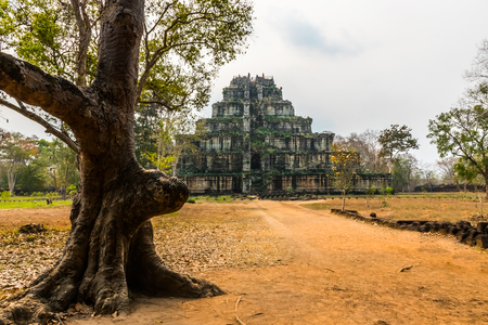 Pyramid of ancient complex Koh Ker in Cambodia