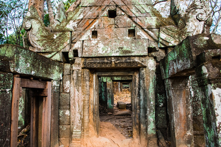 Old ruins of ancient complex Koh Ker in Cambodia