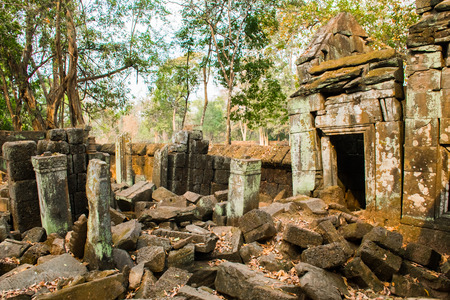 Ruins of ancient complex Koh Ker in Cambodia