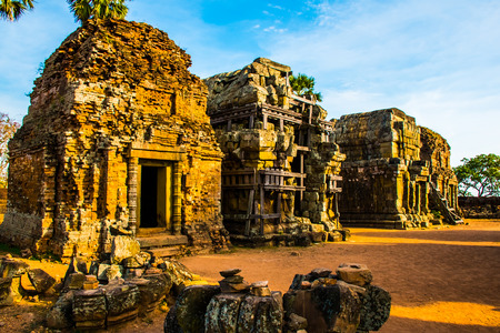Mysterious old ancient Phnom Krom temple on the hill near Siem Reap in Cambodia Stok Fotoğraf