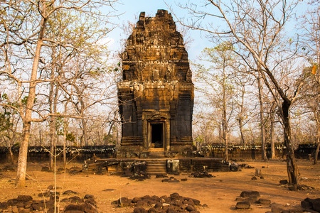 Ruined building of ancient complex Koh Ker in Cambodia