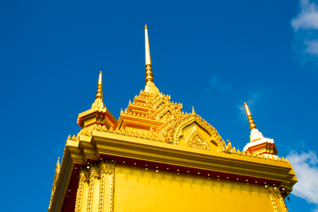 Yellow pagoda in Buddhist Temple in Koh Samui Island, Thailand