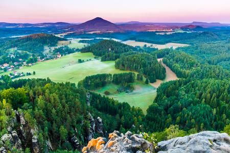 Beautiful morning sunrise of the Mariina Viewpoint, Bohemian Switzerland, National Park Bohemian Switzerland, Czech republic