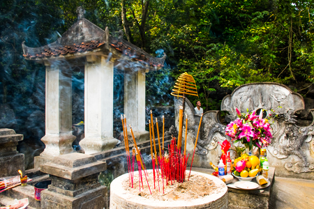 Ancient temple and incense sticks of the King Dinh Tien Hoang comples, Hoa Lu, Ninh Binh in Vietnam