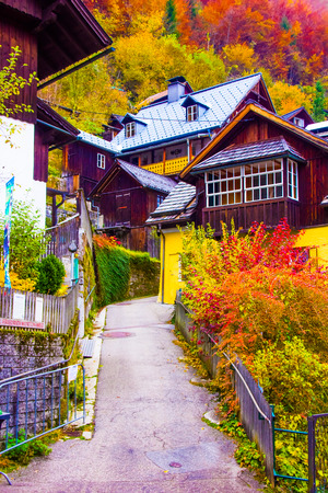 Street of Hallstatt town scene, Unsesco, Austria, Salzkammergut in Europe Stock Photo