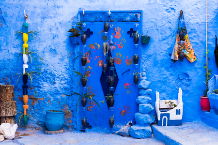 Traditional moroccan architectural details in blue city Chefchaouen in Morocco