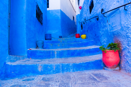 Beautiful blue street of the blue medina of Chefchaouen, Morocco in Africa