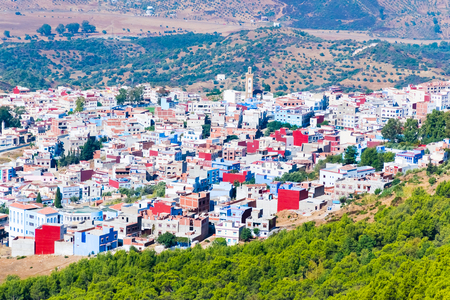 Blue medina of the Chefchaouen panoramic view from mountain viewpoint, Morocco in Africa.
