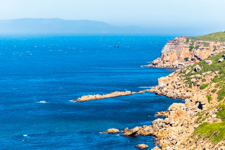 View from the Cap Spartel across the Strait of Gibraltar with Spain in distance in Morocco, Africa