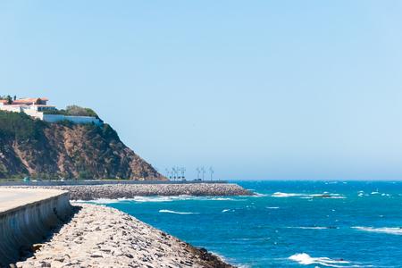 Atlantic ocean coast of Tanger city close Gibraltar strait, Morocco in Africa