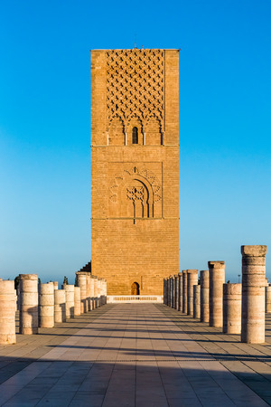 Tousand years old Tower of Hassan of the capital Rabat city, Morocco in Africa