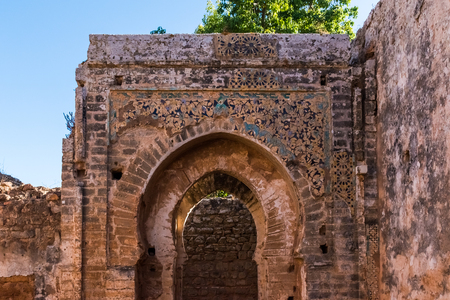 Gate at ruins of the ancient city of Chellah in the city of Rabat, Morocco in Africa