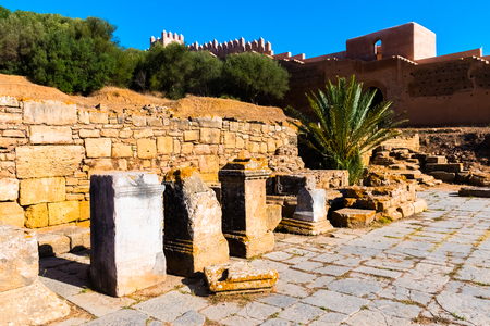 Ruins of the ancient necropolis of Kellah Chellah in the city of Rabat, Morocco in Africa