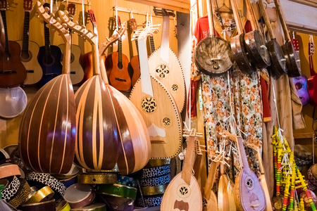 A music shop in the old medina medina of Rabat in Morocco in Africa
