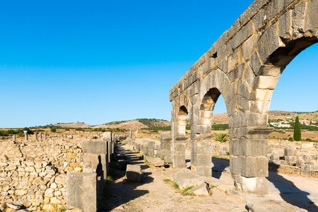 Roman Ancient city of Volubilis, Meknes 免版税图像
