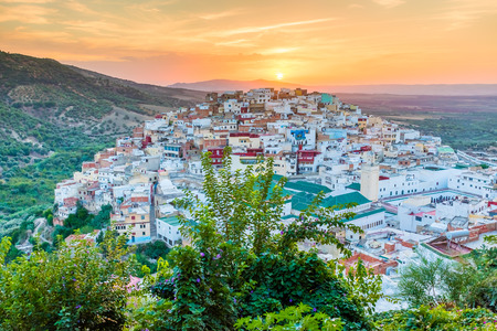 Beautiful sunset view of the holy city of Moulay Idris close Volubilis, Meknes, Morocco, Africa