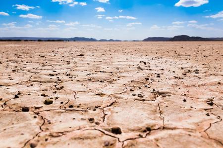 Dry cracked desert, Sahara desert, Merzouga, Morocco in Africa