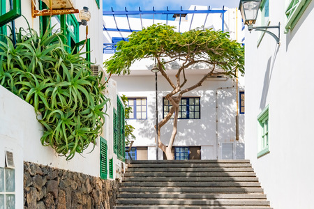 Facade of a traditional house in Playa Blanca, Lanzarote, Canary Islands, Spain.