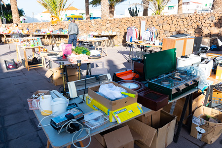Teguise, Lanzarote, Spain - Dec 14, 2018: Every Sunday in the squares and cobbled streets of Villa de Teguise, takes place one of the most important popular Canarian markets, Canary Islands.