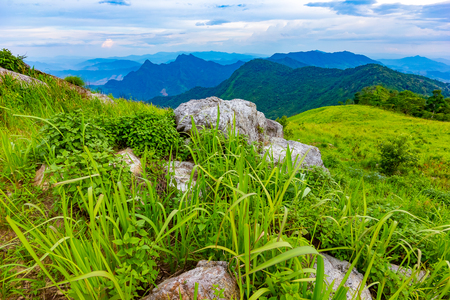 Landscape scene from the peak of mountain and mist at Phu Chi fa close to Chiang Rai, Thailand Banco de Imagens