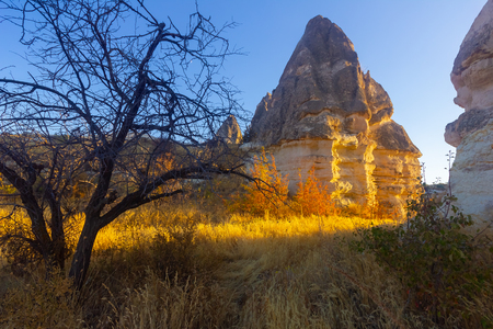 Beautiful landscape of Magic forms of sandstone rock near Goreme village, Cappadocia, Turkey