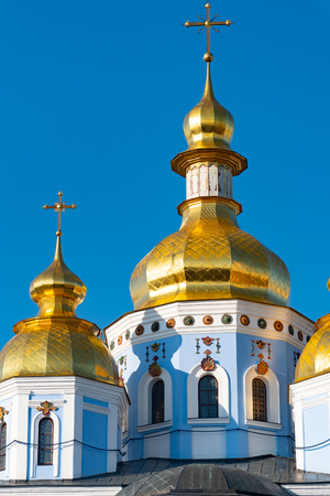 St. Michaels Golden Domed Monastery, classic shinny, golden cupolas of the cathedral cupolas of the cathedral, Ukraine, Kiev