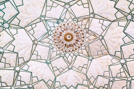 An eight-sided geometric pattern is inlaid into the ceiling of the ceremonial Drum House Naqqar Khana of the Red Fort in Delhi, India
