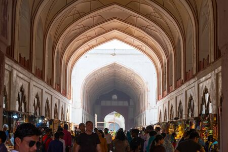 New Delhi, India, Mar 30 2019 - Inside view of the market at the Red Fort - The market place was built by the Mughals in the 17th century
