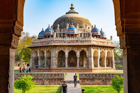 New Delhi, India, Mar 30 2018 - A Landscape view of Isa Khan Garden Tomb inside Humayuns tomb which is a World Heritage architecture, situated in Delhi, India