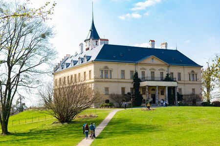 Radun Castle, Czech Republic, 7 April 2019 - Tourists going to Radun castle in Czech Republic