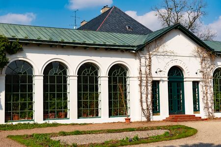 Radun, Czech Republic, 7 April 2019 - View of orangery greenhouse with tropical and subtropical fruit species found next to the Radun Castle, Opava, Czech Republic 新聞圖片