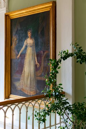 Radun, Czech Republic, 7 April 2019 - The interior with beautiful pictures on wall of Radun Castle, located near Opava