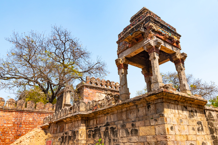 Beautuful Lodhi Garden with flowers, greenhouse, tombs and other sights, New Delhi, India.