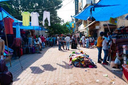 India, New Delhi, 30 Mar 2019 - Crowded clothes market in the centre of New Delhi