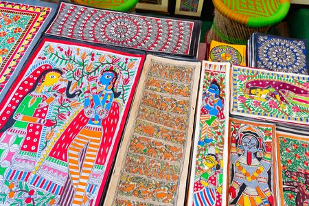 India, New Delhi, 30 Mar 2019 - Market with Madhubani Paintings for selling Reklamní fotografie - 127883977