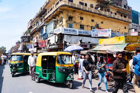 India, New Delhi, 30 Mar 2019 - People drive in a busy and chaotic street of New Delhi, the capital city of India Reklamní fotografie - 127883980