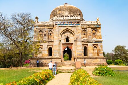 India, New Delhi, Sheesh Gumbad, 30 Mar 2019 - Sheesh Gumbad tomb from the last lineage of the Lodhi Dynasty, situated in Lodi Gardens city park 新聞圖片