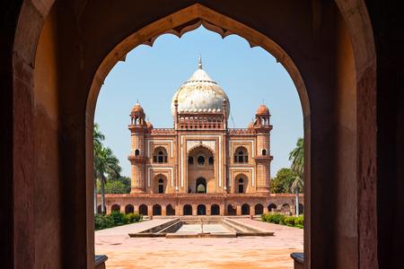 View of Safdarjung Tomb from its entrance door, New Delhi, India Stock Photo
