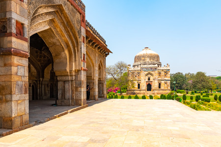 India, New Delhi, Sheesh Gumbad, 30 Mar 2019 - Sheesh Gumbad tomb from the last lineage of the Lodhi Dynasty, situated in Lodi Gardens city park Banco de Imagens