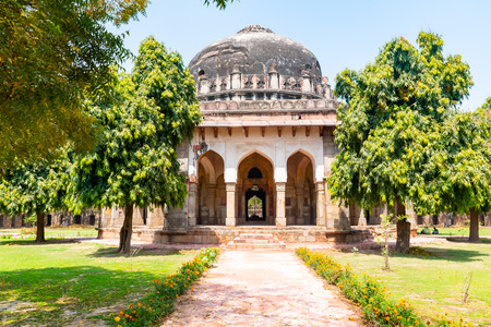 Beautuful Lodhi Garden with flowers, greenhouse, tombs and other sights, New Delhi, India