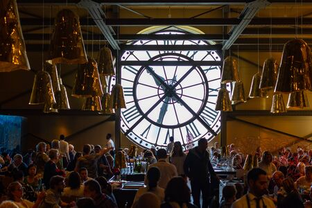 Paris, France, 15 My 2019 - A huge Clock in restaurant of the Museum Orsay, Paris, France