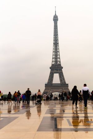 Paris, France, 15 May 2019 - Eiffel Tower with Reflections after rain in Paris, France Reklamní fotografie - 127884763