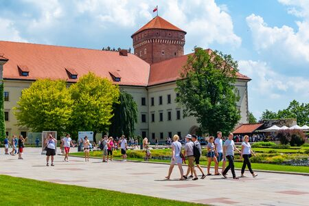 Krakow, Poland, 10 May 2019 - A view of a Wawel castle with Gardens and cathedral, Krakow, Poland