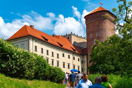 Krakow, Poland, 10 May 2019 - A view of a Wawel castle with Gardens and cathedral, Krakow, Poland Reklamní fotografie - 127884779