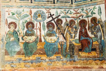 Romania, Voronet, 15 September 2019 - Voronet Monastery, Region Suceava, Romania - the church is one of the Painted churches of Moldavia listed in UNESCOs list of World